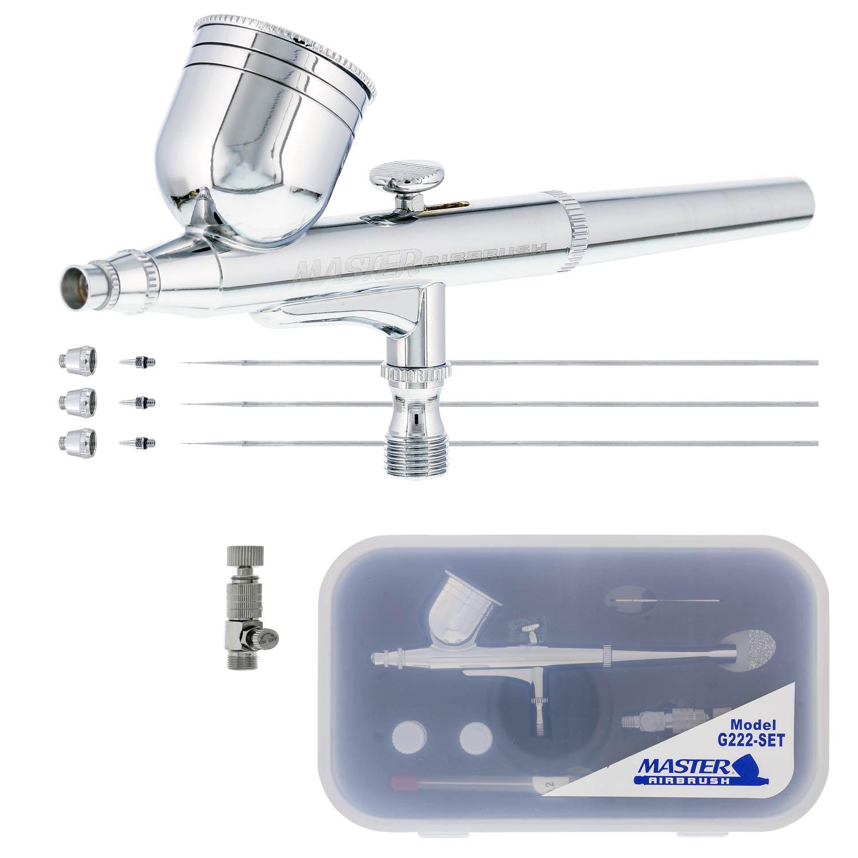 Master Airbrush G222 Pro Set Dual-Action Gravity Feed 3 Tip Kit 0.2 0.5mm 0.3